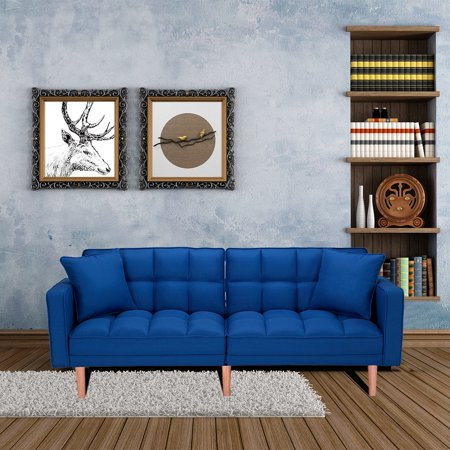 Clearance! Mid Century Modern Sofa Bed, Sectional Sofa with Wood Legs, Two Pillows, Premium Upholstery Fabric Futon Sofa Bed, Love Seat Living Room Bedroom Furniture for Small Space, Blue, Q13065
