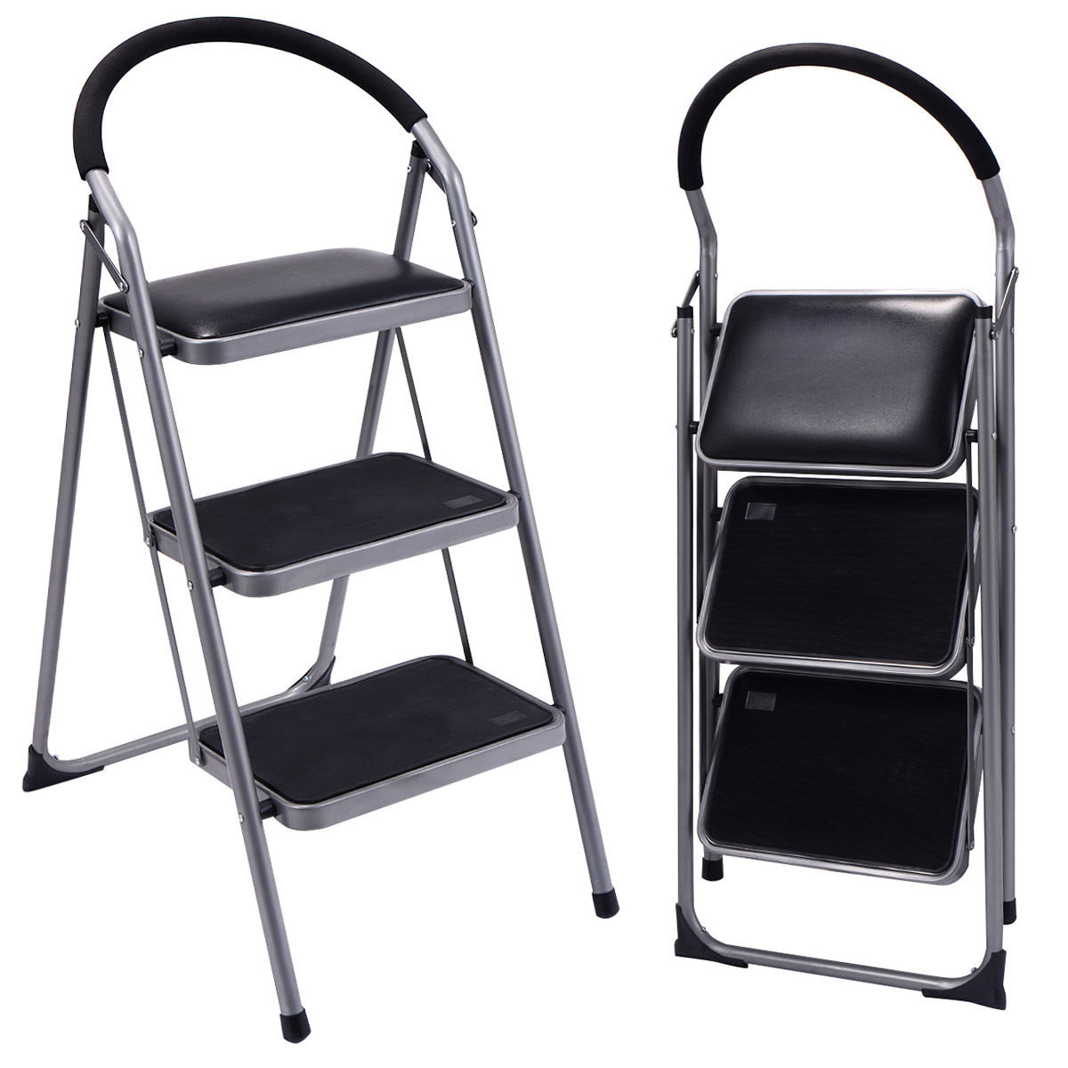 Costway Non Slip 3 Step Ladder Lightweight Folding Stool