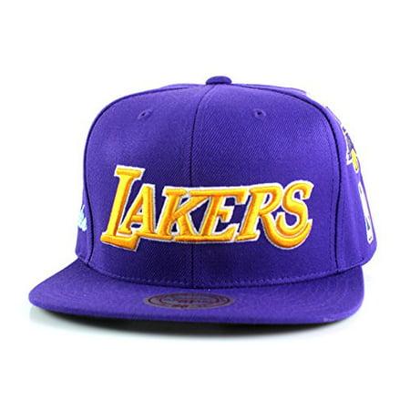 1967cab61 Los Angeles Lakers Mitchell & Ness NBA Team Logo History Flat Brim ...