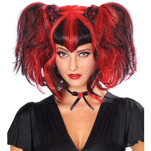 Black and Red Bad Fairy Wig Adult Halloween Accessory