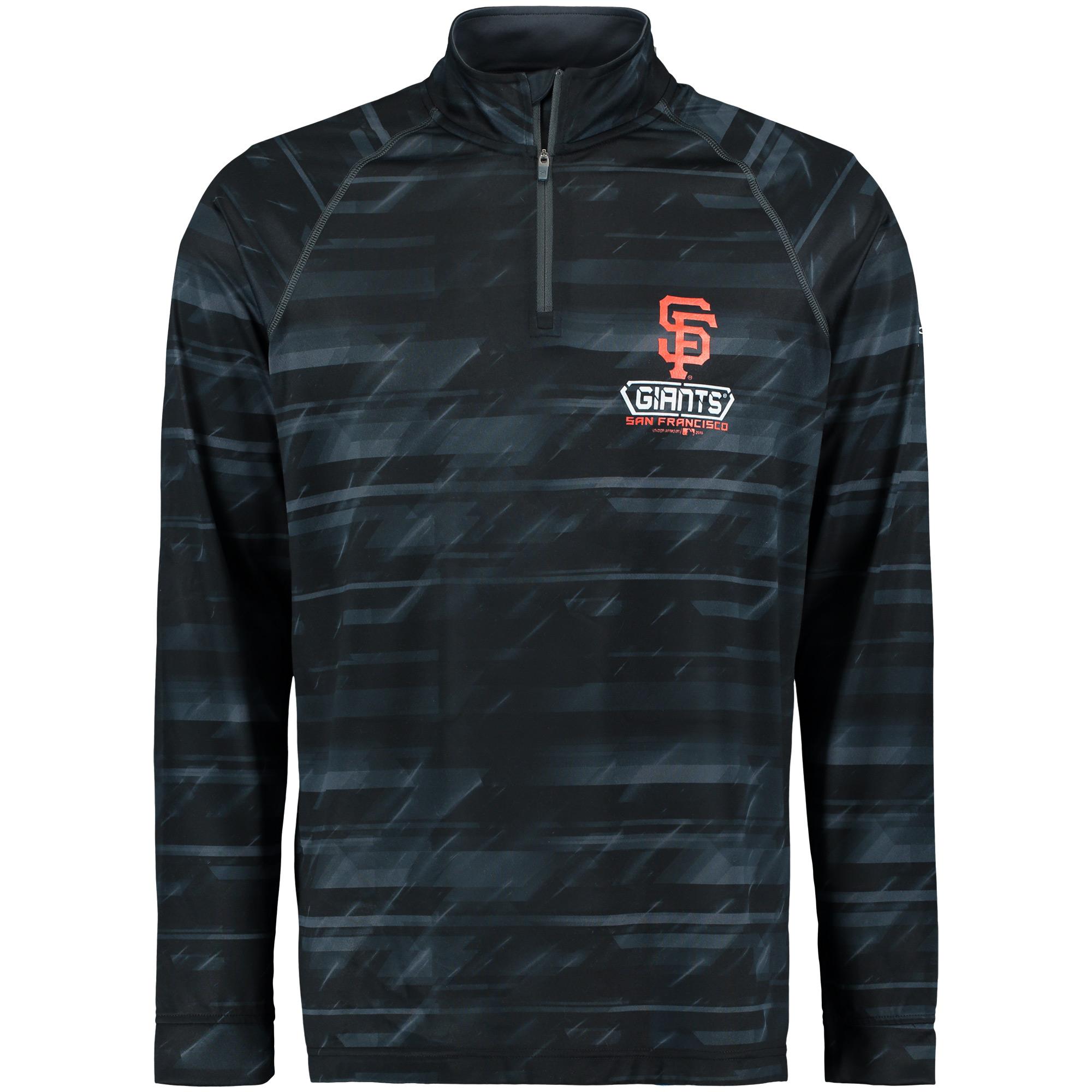 San Francisco Giants Under Armour Tech Novelty Quarter-Zip Performance Pullover - Black