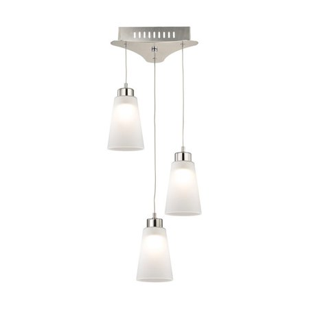 Alico Coppa 3 Light LED Pendant in Satin Nickel with White Glass - image 1 de 1