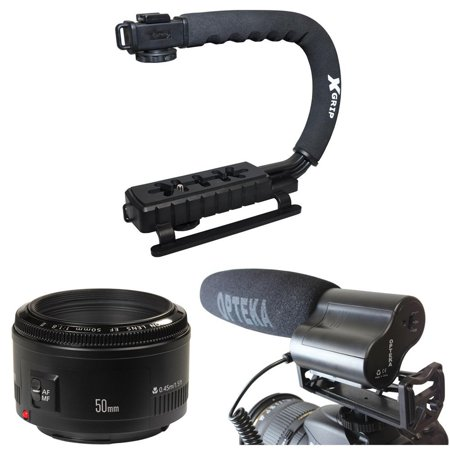 Opteka Action Filming Kit with 50mm f/1.8, X-Grip and Video Shotgun Microphone for Canon EOS 60D, 60Da, 50D, 5D, T5i, T4, T4i, T3i, T3 and SL1 Digital SLR Cameras (Canon T3i)