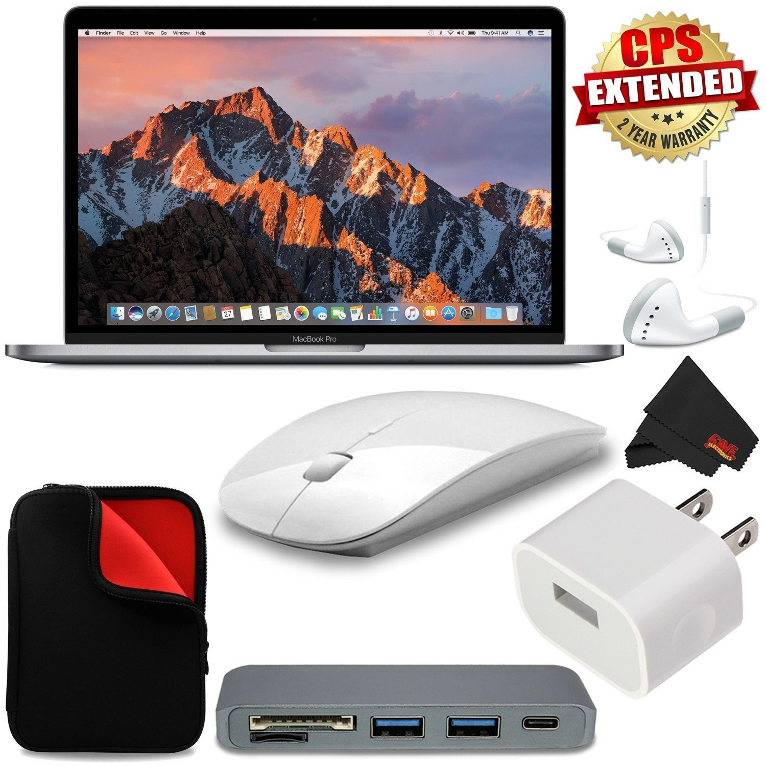 """Apple 13.3"""" MacBook Pro (Mid 2017, Space Gray) MPXT2LL/A + MicroFiber Cloth + 2.4 GHz Slim Optical Wireless Bluetooth + Travel USB 5V Wall Charger for iPhone/iPad (White) + Type-C USB 3.0 HUB Bundle"""