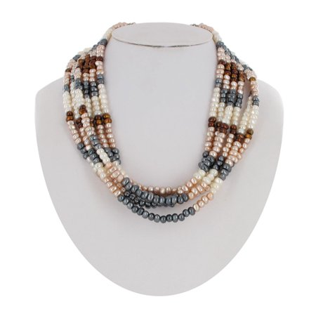 Brown Pink Cream Gray Small Faux Pearl Beaded Multistrand 6 Strand Statement Necklace](Small Beads Necklace)