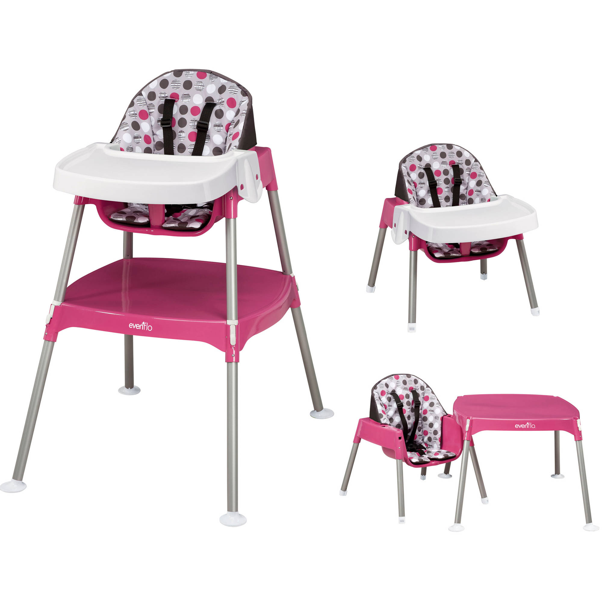 Baby trend high chair pink - Evenflo Convertible High Chair Dottie Rose