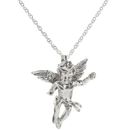 Sterling Silver Cupid Pendant Necklace, 18