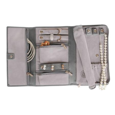 Genuine Saffiano Leather Travel Jewelry Case - Grey