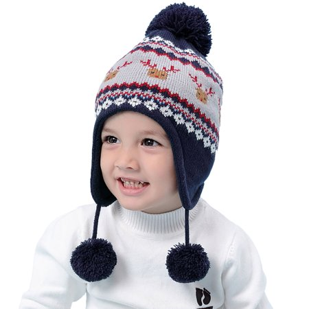 Coxeer - Baby Hat Cute Deer Decor Baby Knit Hat Infant Warm Hat Earflap  Beanie for Winter - Walmart.com bb9871d13ef