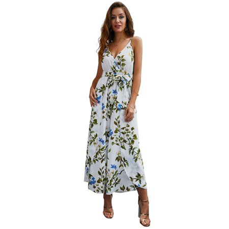 Summer Dresses For Women Casual Bohemian Ruffle Floral Print Spaghetti Strap Midi Dress Pleated V-neck Short Sleeve Bandage Falbala Asymmetrical Tunic Dress