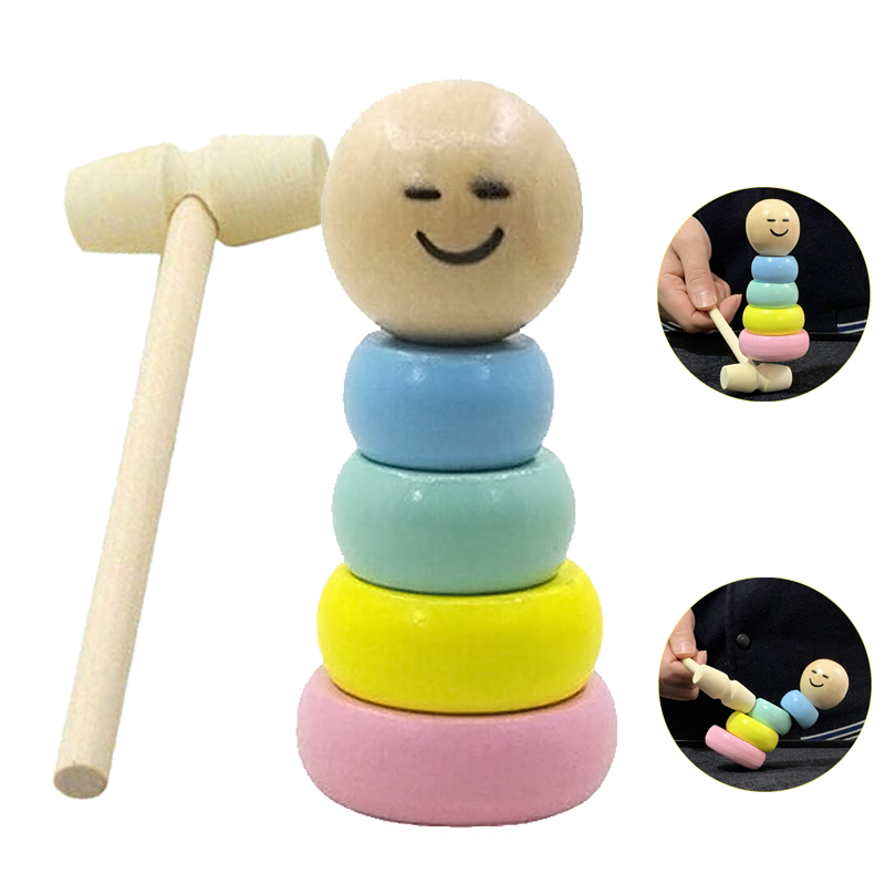 Colorful Just Like A Viewer Watching A CG Animation.Immortal Daruma Small Wooden Man Stubborn Unbreakable Wood Magic Game Toy Gift -BCVBFGCXVB