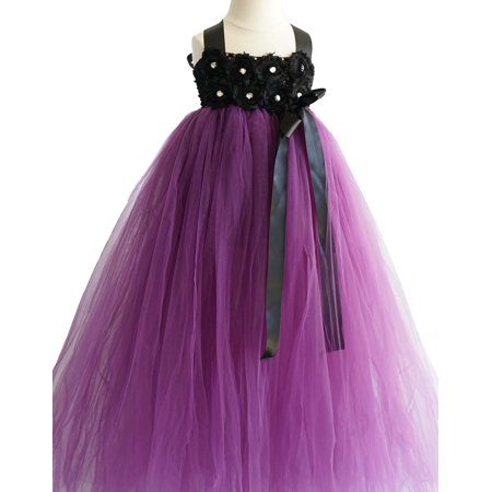 Efavormart Blossomy Bodice and Plum Purple Sheer Tulle Skirt Birthday Girl Dress Junior Flower Girl Wedding Party Gown Girls Dress (Plumb Dress)