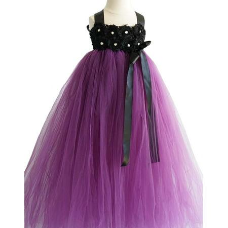 Efavormart Blossomy Bodice and Plum Purple Sheer Tulle Skirt Birthday Girl Dress Junior Flower Girl Wedding Party Gown Girls