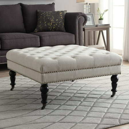 Linon Isabelle Square Tufted Ottoman Multiple Colors Inch - 17 inch high coffee table
