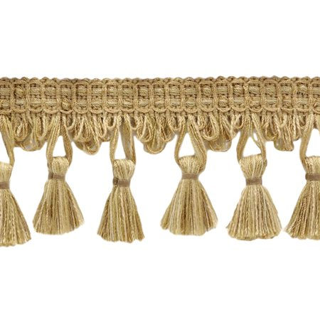 2.5 Inch Shell, Camel Beige, Oak Brown Tassel Fringe Trim|Style# TFDK025|Color: Barley - N04|Sold By the Yard