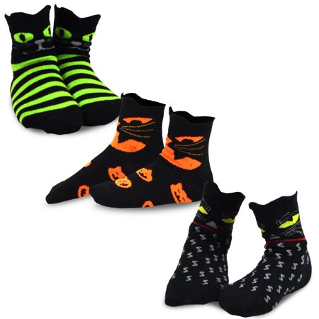 TeeHee Halloween Kids Cotton Fun Crew Socks 3-Pair Pack (Cat Faces) - Simple Halloween Cat Faces
