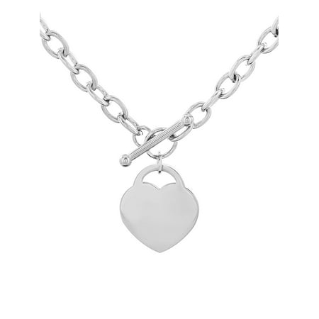 Stainless Steel Heart Tag Toggle Clasp 18 Inch - 16 Toggle Necklace