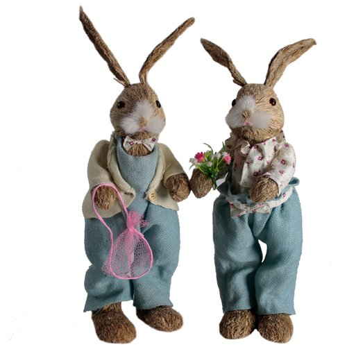 Shea's Wildflowers 2 Piece Mr. and Mrs. Blues Ville Bunny Set