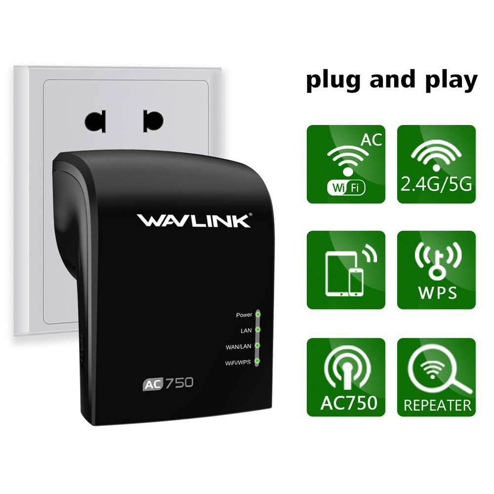 Wavlink AC750 Dual Band Wi-Fi Range Extender/Access Point/ Wireless Repeater WIFI Signal Booster Amplifier -Black