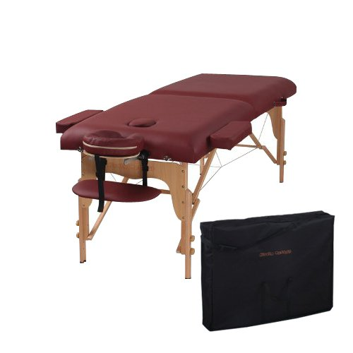 The Best Massage Table Two Fold Burgundy Portable Massage...