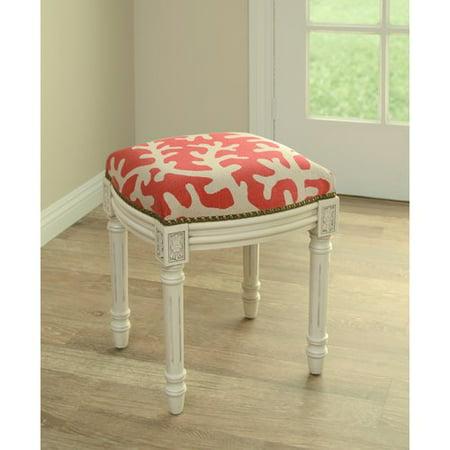 Magnificent 123 Creations Coastal Linen Upholstered Vanity Stool Machost Co Dining Chair Design Ideas Machostcouk