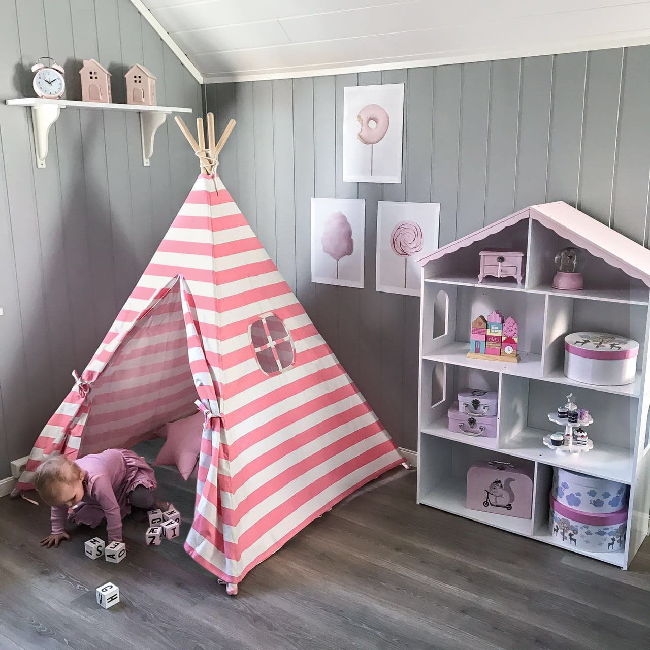 Ktaxon Teepee Tent For Girls Princess Canvas Childrens
