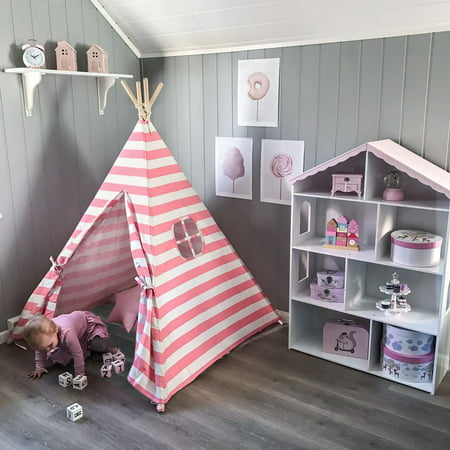Teepee For Girls (Ktaxon Teepee Tent for Girls, Princess Canvas Childrens Play Tent for Indoor Decor with Carry Case , Pink & White)