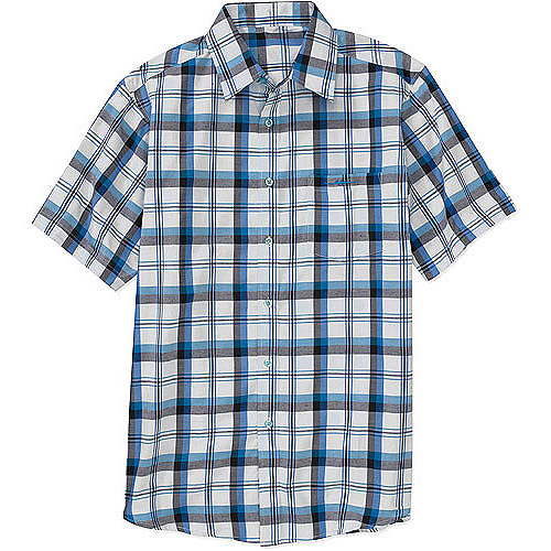 This plaid short sleeve shirt is an all-natural blend of 60 percent linen and 40 percent cotton, so it might need a little iron action after machine washing. It's a classic, traditional easy fit.