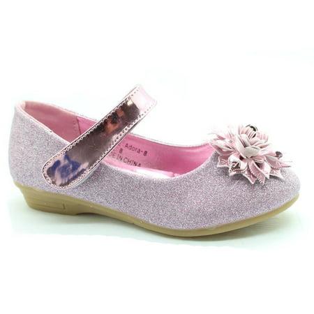 Little Girls Pink Flower Embellished Mary Jane Dress Shoes
