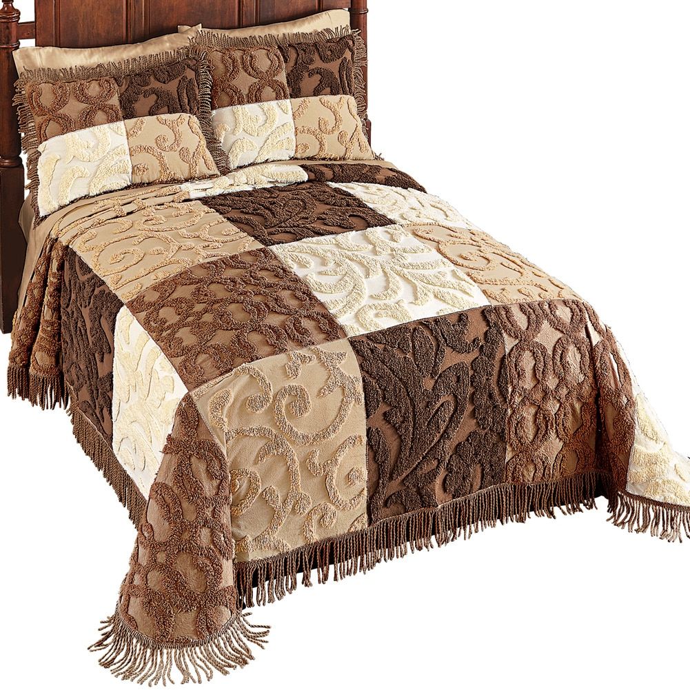 Mocha and White Scrolled Design Patchwork Chenille Bedspread with Fringe Trim, Queen, Beige
