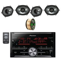 Pioneer Vehicle Digital Media 2DIN Receiver W/Bluetooth W/Kicker 6 x 8 Inch CS Series 2-Way Black Car Coaxial Speakers 2-pairs and Enrock Audio 14 AWG Gauge 50' Speaker Wire Cable Copper Clad Aluminum
