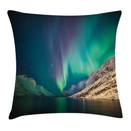 Nature Decor Throw Pillow Cushion Cover, Mystical Northern Lights above Rocky Hills Magnetic Poles Solar Space Panorama, Decorative Square Accent Pillow Case, 18 X 18 Inches, Jade Green, by Ambesonne