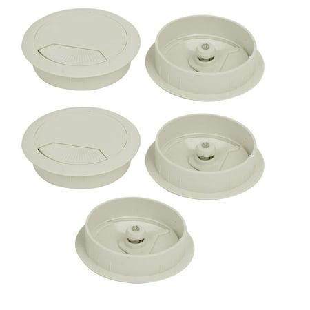 Computer Desk Plastic Adjustable Grommet Cable Hole Cover White 60mm Dia 5pcs