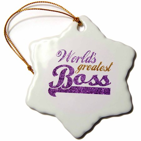 3dRose Worlds Greatest Boss - Best work boss ever - purple and gold text - faux sparkles matte glitter-look - Snowflake Ornament,