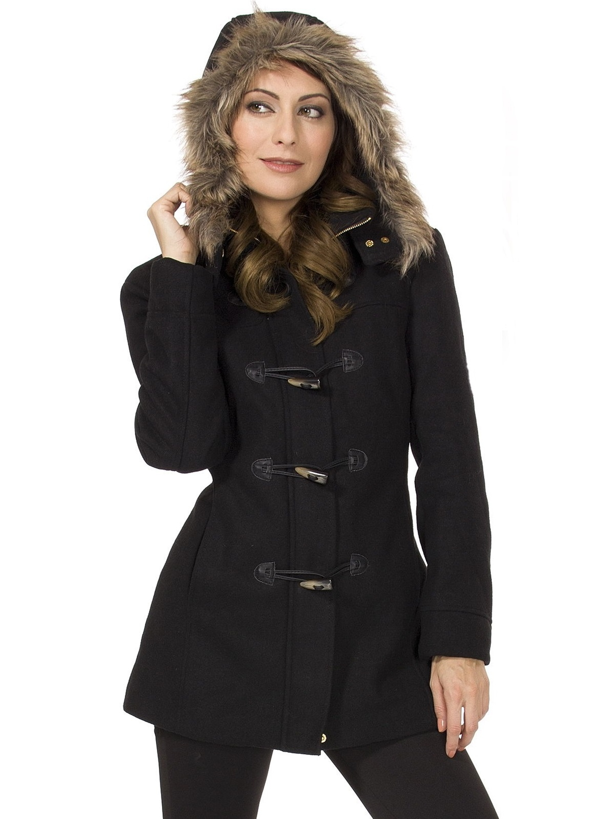 99410cc27 Alpine Swiss Duffy Women's Hooded Parka Fur Trim Wool Coat Toggle Button  Jacket