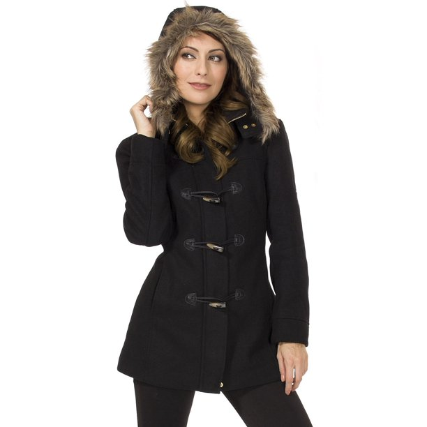 black overcoat women : Womens Hooded Parka Coat Faux Fur Trim Toggle Button Wool Blazer Overcoat Jacket Black 2XL