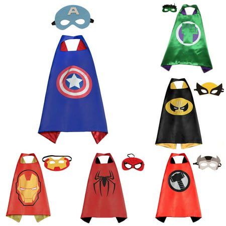 6 Set Superhero  Costumes - Capes and Masks with Gift Box by - Superhero Cape And Mask