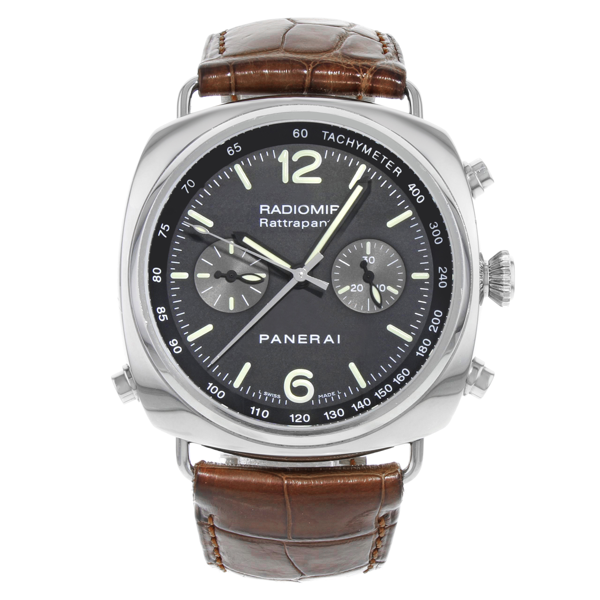 Pre-Owned Panerai Radiomir Rattrapante Black Dial Steel Automatic Mens Watch PAM00214