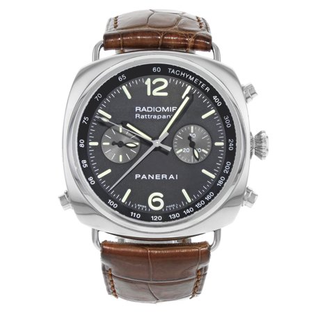 Pre-Owned Panerai Radiomir Rattrapante Black Dial Steel Automatic Mens Watch PAM00214 ()