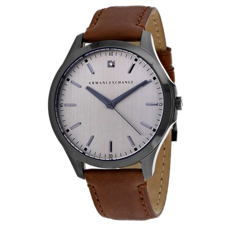 Armani Exchange Men's Diamond Accent Brown Leather Strap Watch 46mm - Armani Exchange Leather