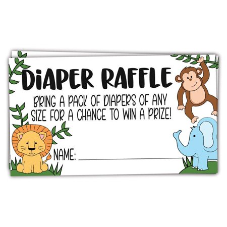 50 Safari Jungle Animals Diaper Raffle Tickets for Baby Shower - Invitation Inserts