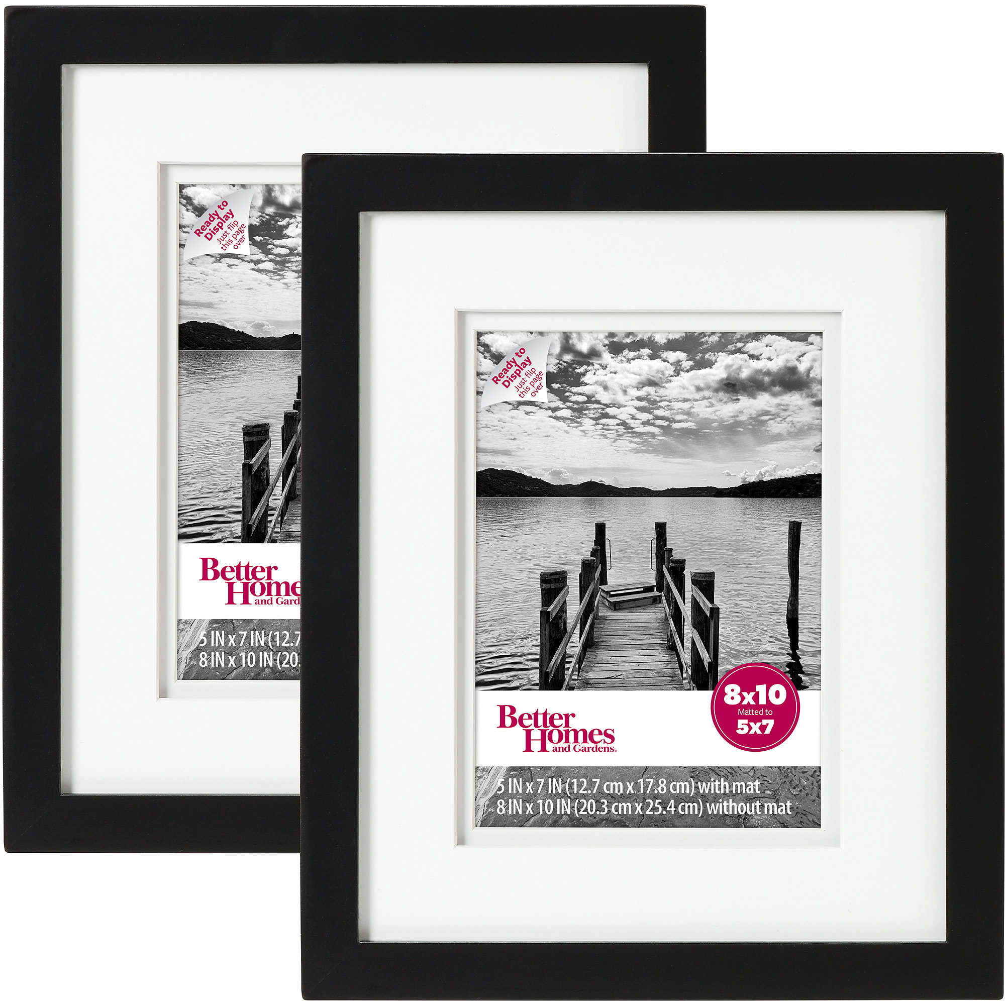 "Better Homes and Gardens Picture Frame Black, Set of 2, 8""x10"""