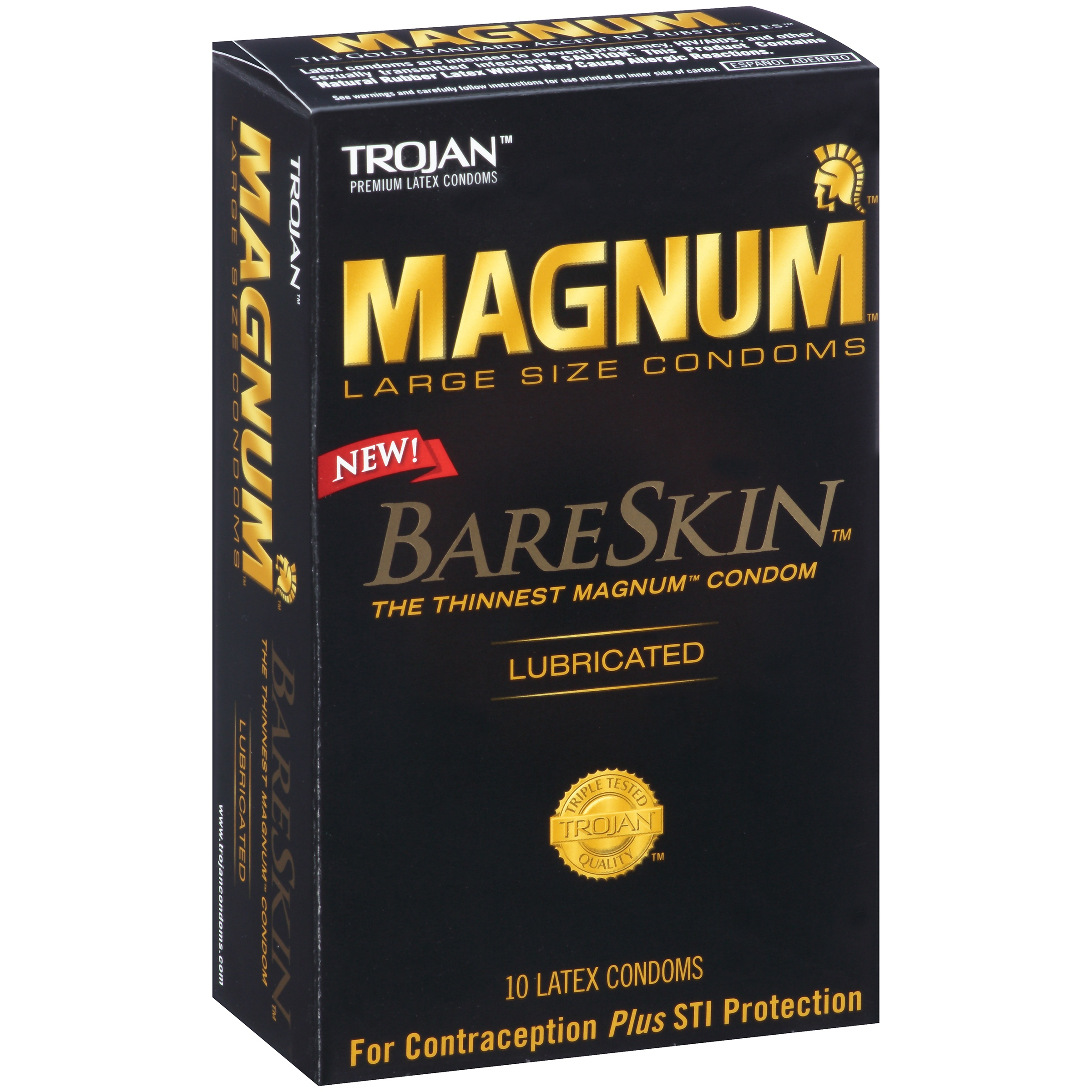 Trojan Magnum BareSkin Large Size Lubricated Latex Condoms - 10 CT ...