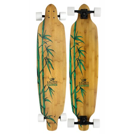 Bamboo Longboard - KROWN EXOTIC Longboard Complete BAMBOO LEAVES 9.25' X 41' Drop Thru