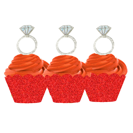 12pk Diamond Shaped Ring Wedding Bridal Shower Cupcake Toppers w. Red Glitter Wrappers