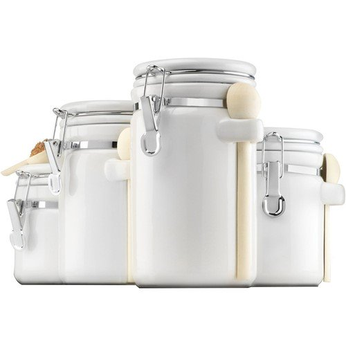 Anchor Hocking 4-Piece Ceramic Canister Set with Clamp Top Lid and Wooden Spoon