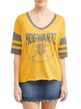 4c866ab1 Product Image Juniors' Harry Potter Hogwarts Graphic V-Neck Tee with  Varsity Sleeves
