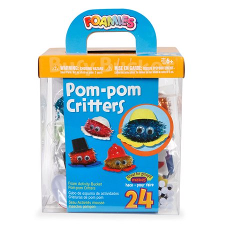 Foamies Pom Pom Critters Group Activity Bucket: Makes 24
