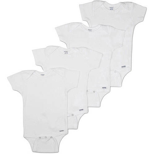 Gerber Newborn Baby Unisex Onesies Brand One-Piece Short Sleeve White Bodysuits, 4-Pack
