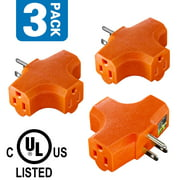 Kasonic 3-Outlet Grounding Adapter, UL Listed Heavy Duty, T-shaped Triangle Tap, AC Power Tap Extender 125 Volt,  3 PACK